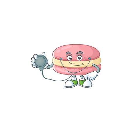 A cartoon character of strawberry macarons Doctor using tools. Vector illustration
