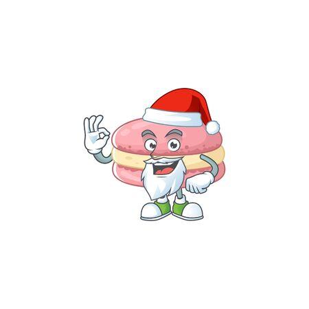 Strawberry macarons cartoon character of Santa showing ok finger. Vector illustration