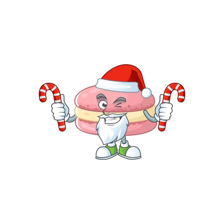 Friendly strawberry macarons in Santa Cartoon character with candies. Vector illustration