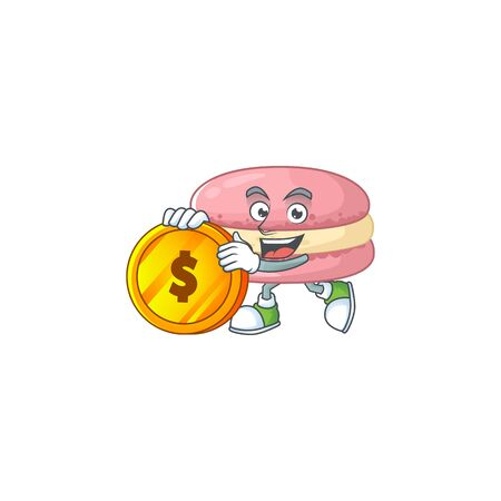 mascot cartoon character style of strawberry macarons showing one finger gesture. Vector illustration