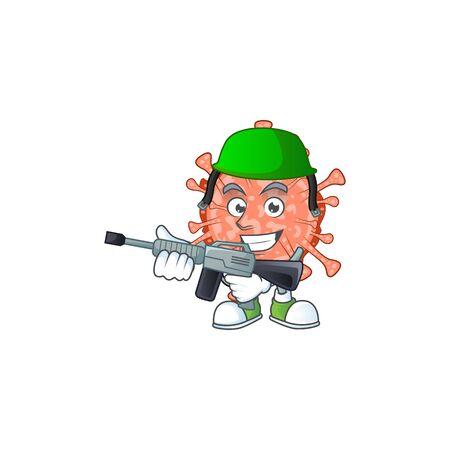 An elegant picture of bulbul coronavirus as an Army having machine gun. Vector illustration