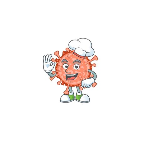 A picture of bulbul coronavirus cartoon character wearing white chef hat. Vector illustration