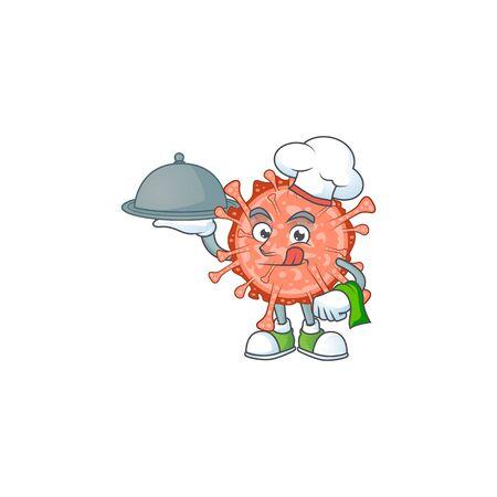 chef cartoon character of bulbul coronavirus with food on tray. Vector illustration
