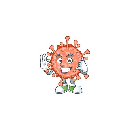 Call me funny gesture bulbul coronavirus mascot cartoon design. Vector illustration