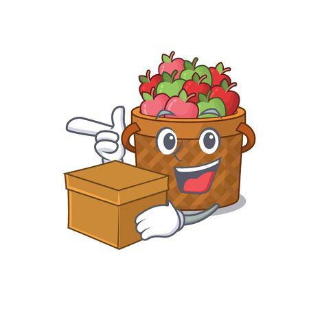 apple basket cartoon design style having a box
