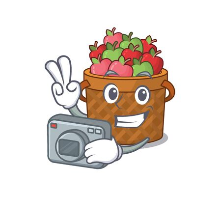 apple basket mascot design as a professional photographer with a camera. Vector illustration