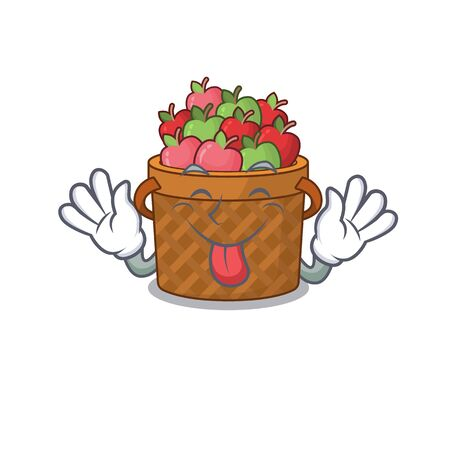 Funny face apple basket mascot design style with tongue out
