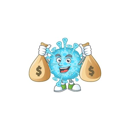 Happy rich fever coronavirus mascot design carries money bags