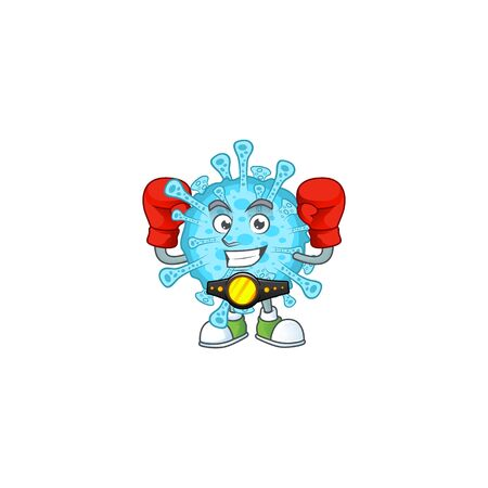 A sporty boxing of fever coronavirus mascot design style