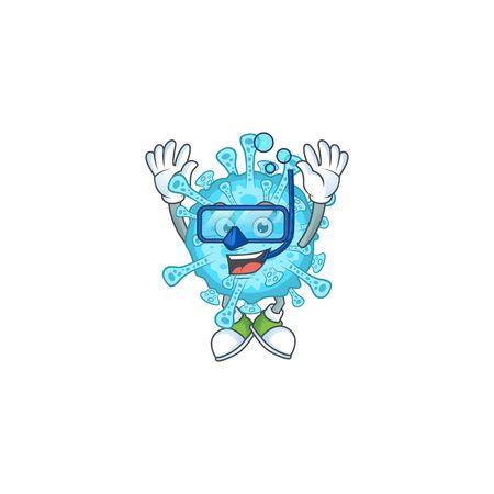 A cartoon design of fever coronavirus trying Diving glasses