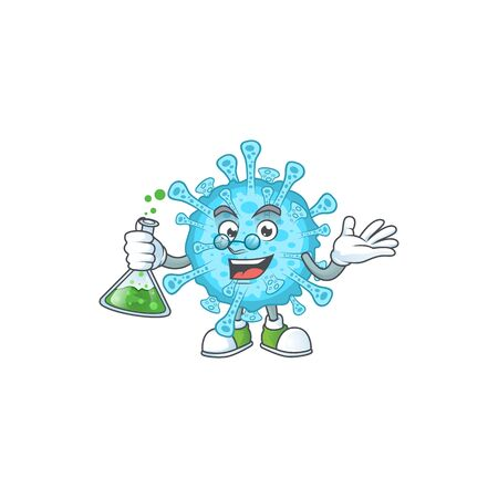 Fever coronavirus brainy Professor Cartoon design grasp a glass tube