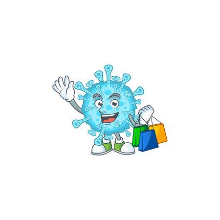 Smiley rich fever coronavirus mascot design with Shopping bag