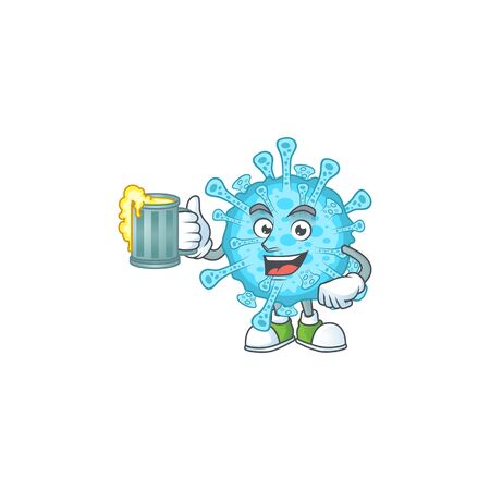 A cartoon concept of fever coronavirus with a glass of beer