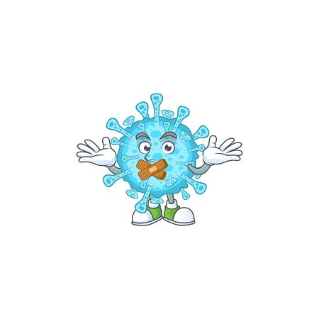 Fever coronavirus cartoon character design concept showing silent gesture. Vector illustration