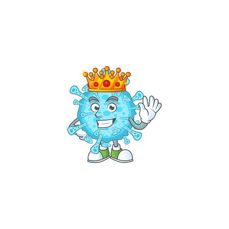 A Charismatic King of fever coronavirus cartoon character design