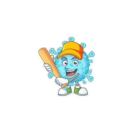 Cartoon design of fever coronavirus having baseball stick. Vector illustration