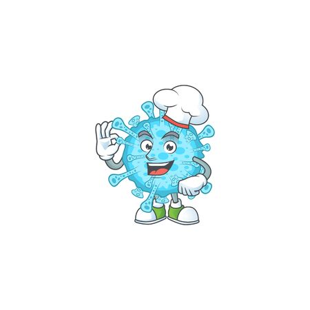 A picture of fever coronavirus cartoon character wearing white chef hat. Vector illustration Ilustracja