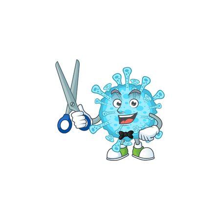 Cool Barber fever coronavirus mascot design style. Vector illustration