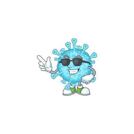 Cute fever coronavirus cartoon character design style with black glasses. Vector illustration