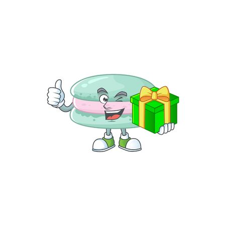 Cheerful vanilla blue macarons cartoon character holding a gift box Ilustrace
