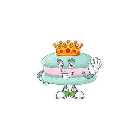 A Charismatic King of vanilla blue macarons cartoon character design