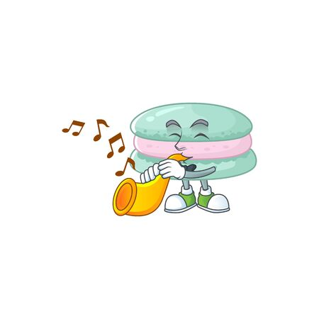 Vanilla blue macarons cartoon character playing music with a trumpet