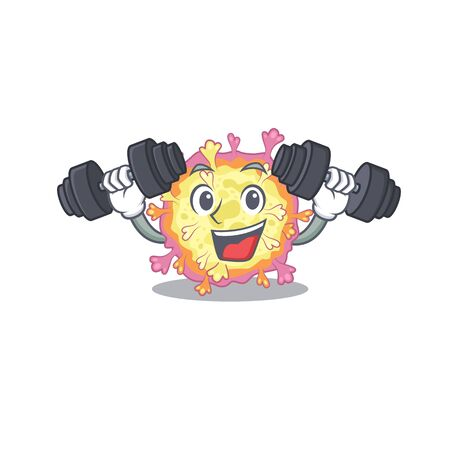 Smiley Fitness exercise coronaviridae virus cartoon character raising barbells. Vector illustration