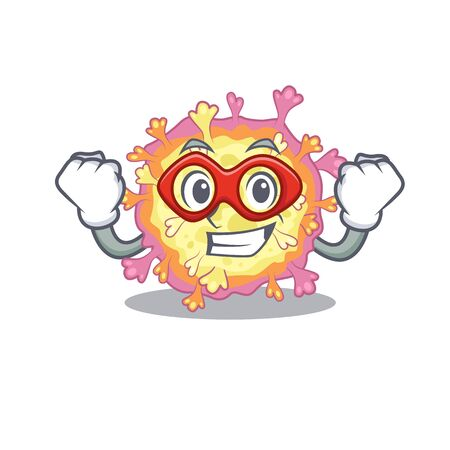 A picture of coronaviridae virus in a Super hero cartoon character. Vector illustration