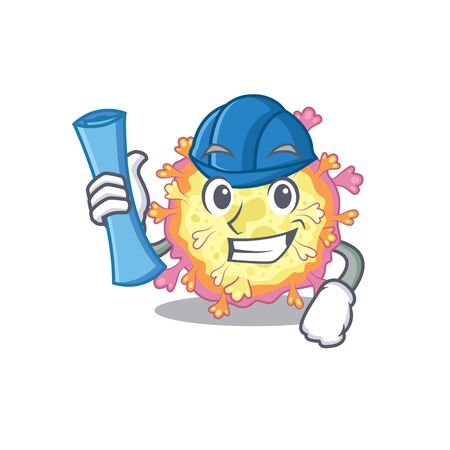 Smiling Architect of coronaviridae virus having blue prints and blue helmet. Vector illustration