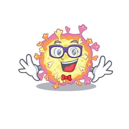 Super Funny Geek coronaviridae virus cartoon character design. Vector illustration