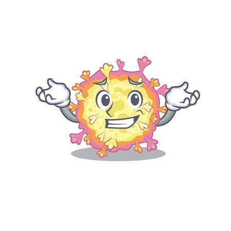 Happy face of coronaviridae virus mascot cartoon style. Vector illustration