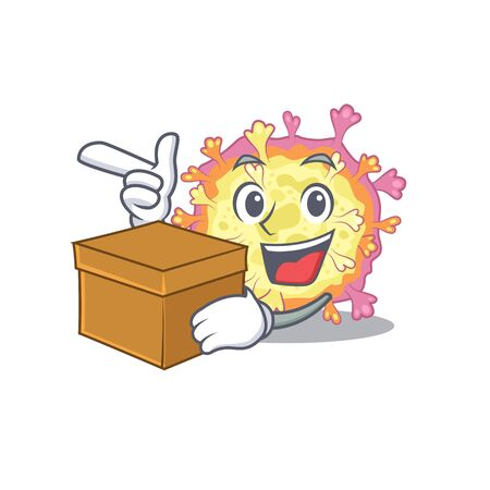 Corona viridae virus cartoon design style having a box. Vector illustration