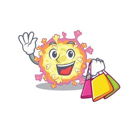 Happy rich Coronaviridae virus mascot design waving and holding Shopping bag. Vector illustration