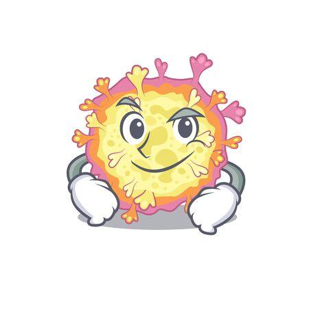 Funny coronaviridae virus mascot character showing confident gesture. Vector illustration