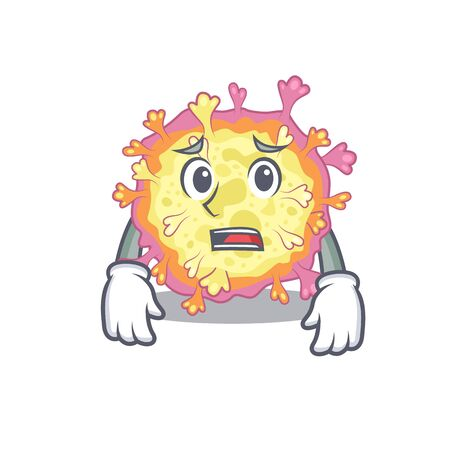 Cartoon picture of coronaviridae virus showing anxious face. Vector illustration Vektorgrafik