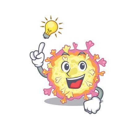Have an idea gesture of coronaviridae virus mascot character design. Vector illustration  イラスト・ベクター素材