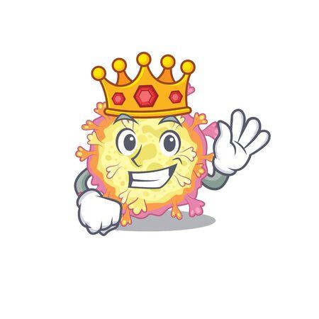 The Royal King of coronaviridae virus cartoon character design with crown. Vector illustration