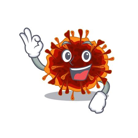 delta coronavirus cartoon character design style making an Okay gesture. Vector illustration