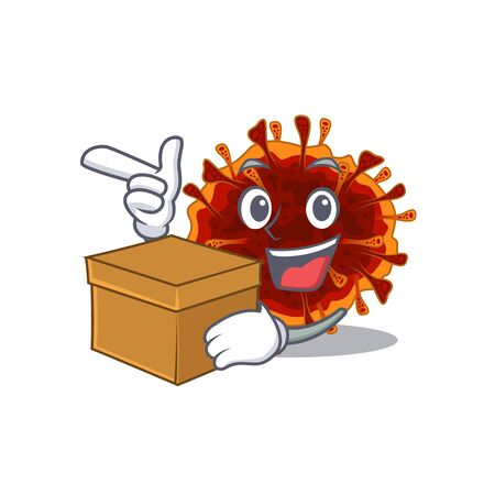 delta coronavirus cartoon design style having a box. Vector illustration