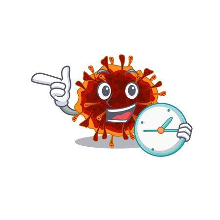Cheerful delta coronavirus cartoon character style with clock. Vector illustration