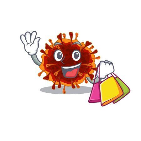 Happy rich delta coronavirus mascot design waving and holding Shopping bag. Vector illustration 向量圖像