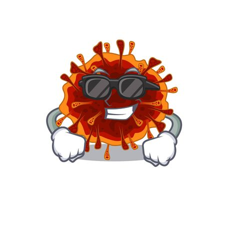 Super cool delta coronavirus mascot character wearing black glasses. Vector illustration