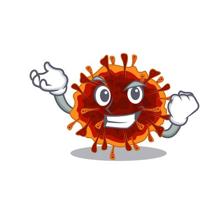 Delta coronavirus cartoon character style with happy face. Vector illustration