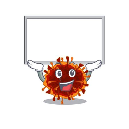 Happy cartoon character of delta coronavirus raised up board. Vector illustration