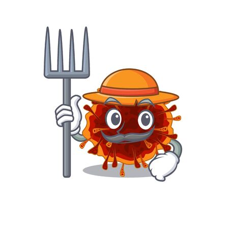 Delta coronavirus in Farmer cartoon character with hat and pitchfork. Vector illustration