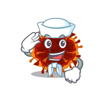 Cute delta coronavirus Sailor cartoon character wearing white hat. Vector illustration