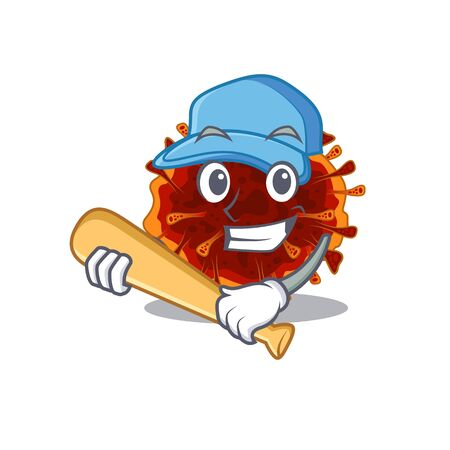 Mascot design style of delta coronavirus with baseball stick. Vector illustration