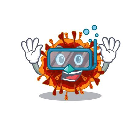 A cartoon picture featuring delta coronavirus wearing Diving glasses. Vector illustration