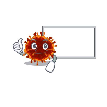 cute delta coronavirus cartoon character Thumbs up bring a white board. Vector illustration 向量圖像