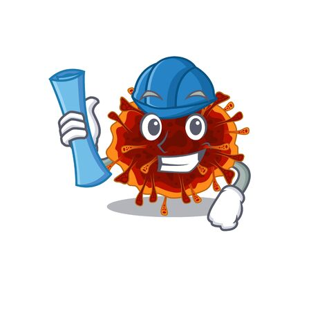 Smiling Architect of delta coronavirus having blue prints and blue helmet. Vector illustration